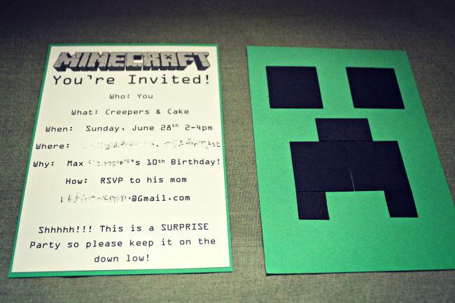 Minecraft Birthday Party Invite